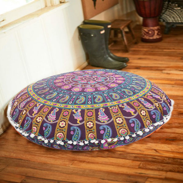 The Boho Girl Round Mandala Floor Pillows