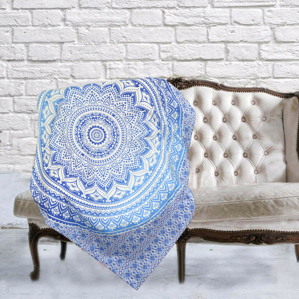 Boho Quilted Cotton Throws for Sofa - Blue Tranquil Mandala