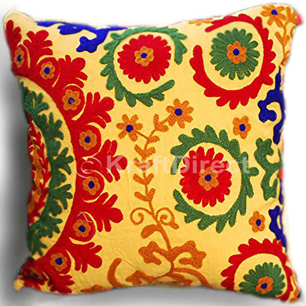 Amber Embroidered Pillow Cover with Floral Motifs in Green, Orange and Red - KraftDirect