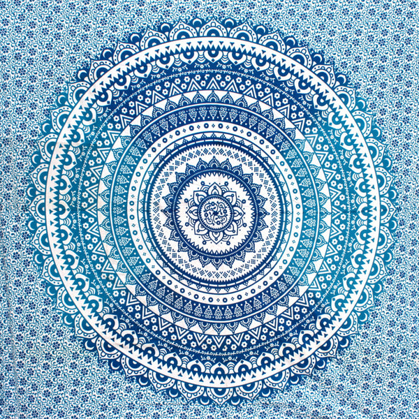 Concentric tidal blue waves mandala tapestry