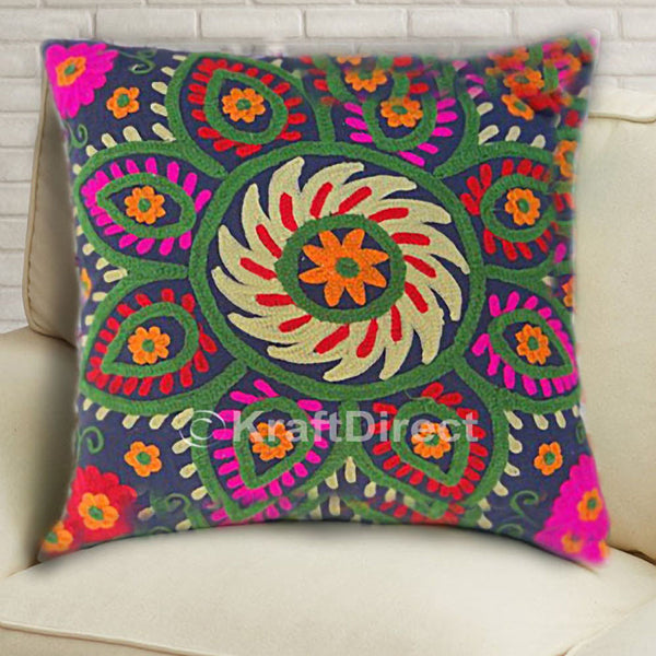 Suzani Square Pillow Cover in Black Base with Green, Pink and Yellow Embroidery - KraftDirect