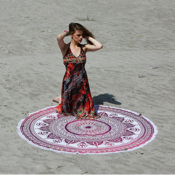 Radiating Pink Round Mandala Tapestry and Beach Throw - KraftDirect