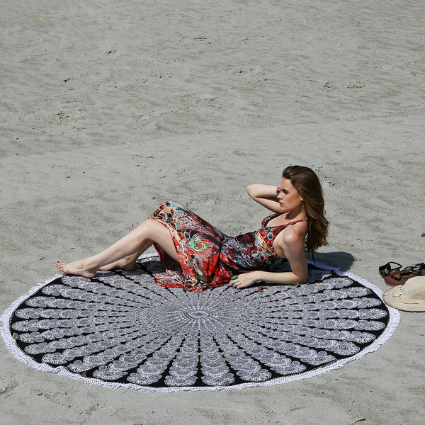 Peacock Design Mandala Beach Throw - Grey and Black - KraftDirect