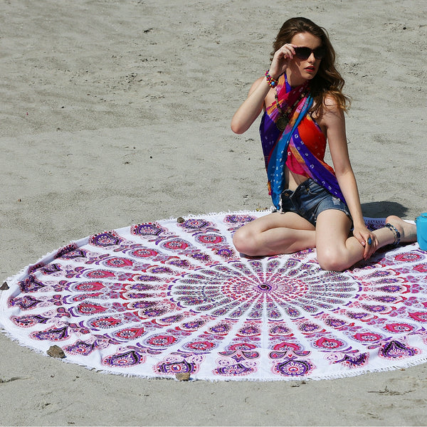 Mandala Beach Throw in Pink and Purple With White Tassels - KraftDirect