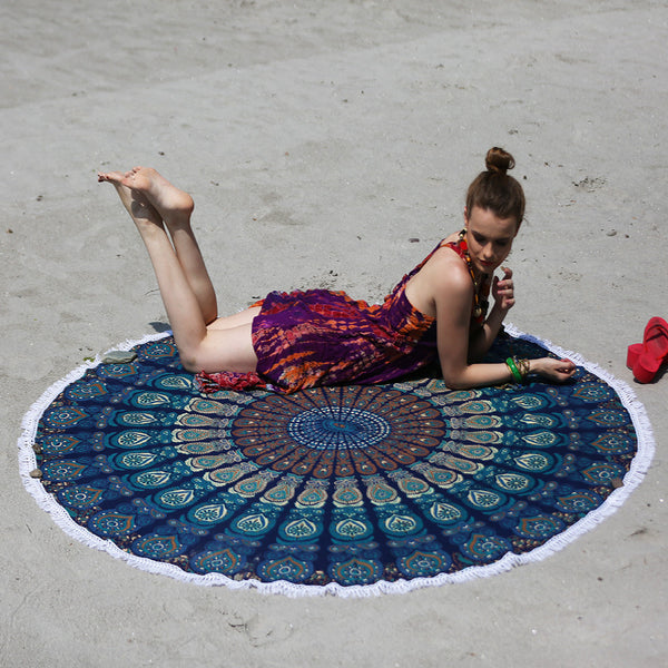 BLUE COLORED MANDALA ROUND BEACH THROW WITH WHITE TASSELS - KraftDirect