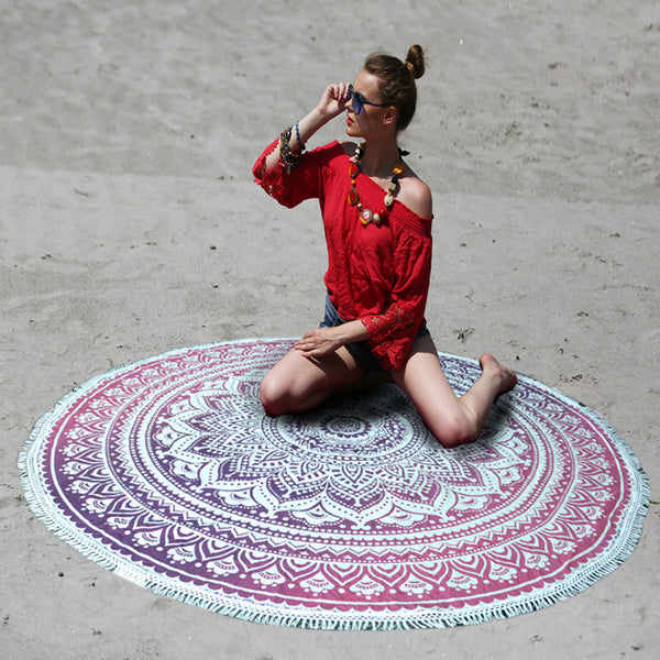 MANDALA PINK OMBRE BEACH THROW WITH WHITE TASSELS - KraftDirect