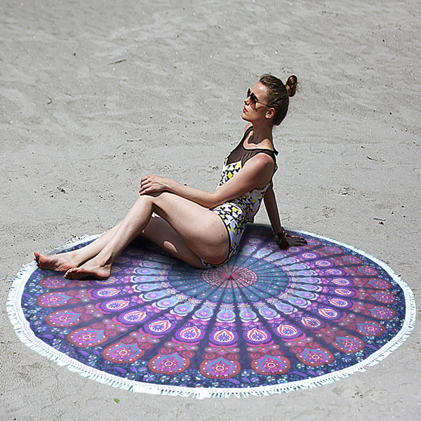 MANDALA PURPLE PINK BEACH ROUNDIE WITH TASSELS - KraftDirect