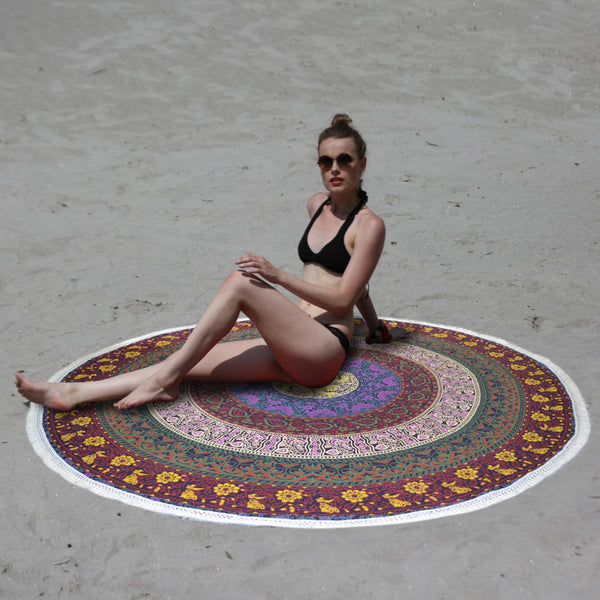 Mandala Beach Throw - FIVE Colored BEACH BLANKET - KraftDirect