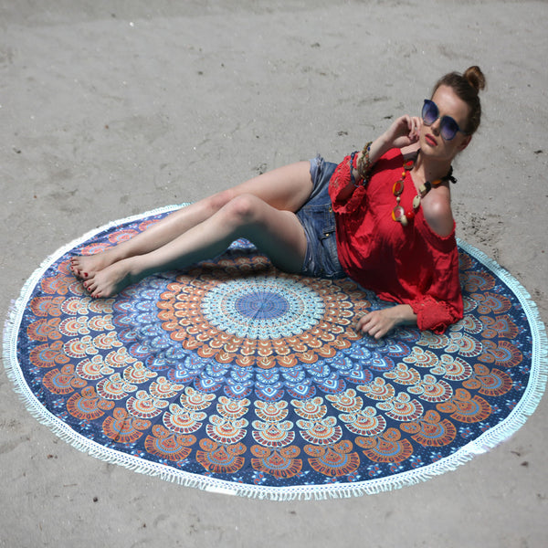 MANDALA BLUE ORANGE BEACH ROUNDIE WITH WHITE TASSELS - KraftDirect