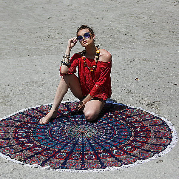 Mandala Beach Throw with White Tassels - KraftDirect