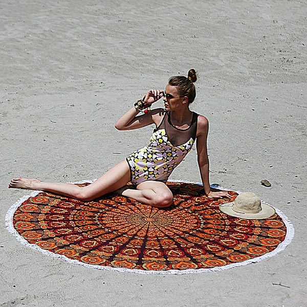 Orange Colored Mandala Beach Throw and Coverlet - KraftDirect