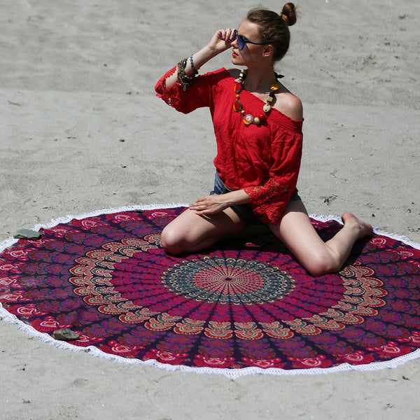 Pink Colored Mandala Beach Throw with White Tassels - KraftDirect