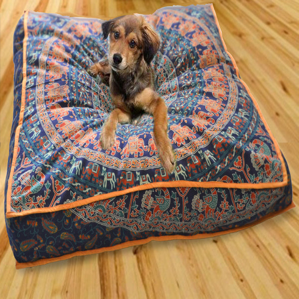 Red and Blue Mandala Square Dog Bed