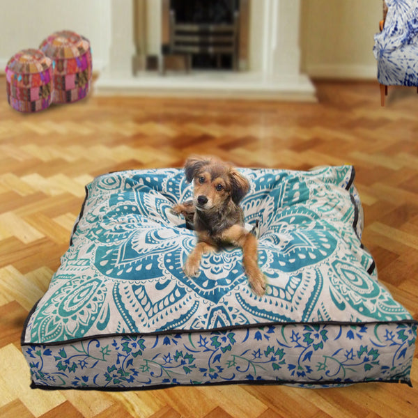Teal Green Lotus Mandala Square Dog Bed