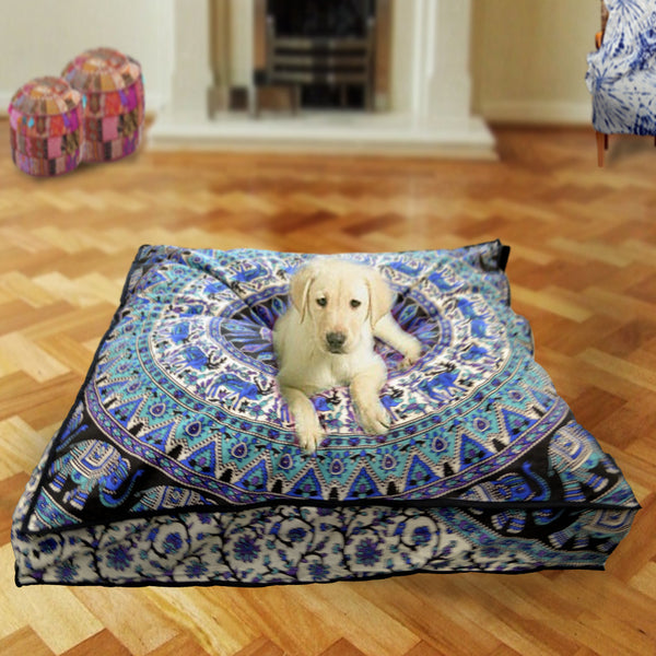 Green Blue Stag Mandala Square Dog Bed