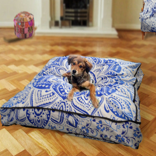 THE BLUE LOTUS THRONE MANDALA DOG BED