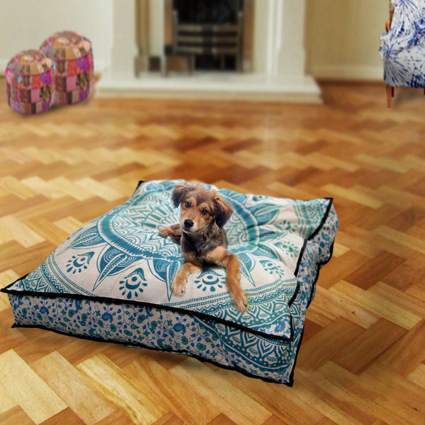 Oceanic Blue Chakra Mandala Square Dog Bed
