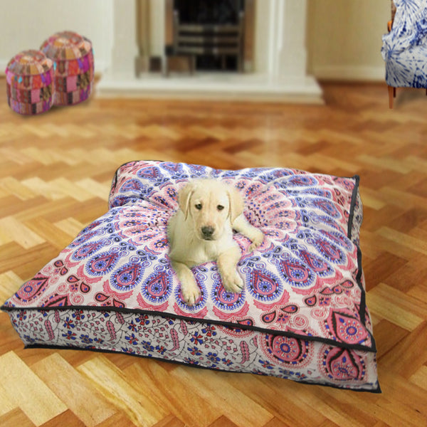 Pink Peacock Square Dog Bed