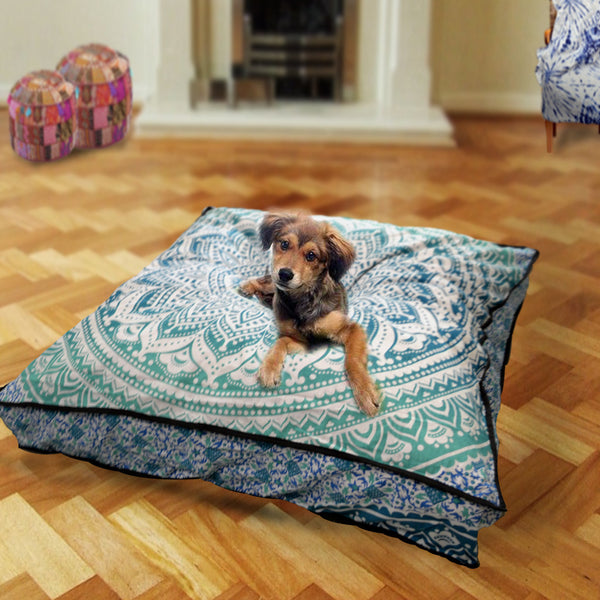 The Teal Ombre Mandala Square Dog Bed