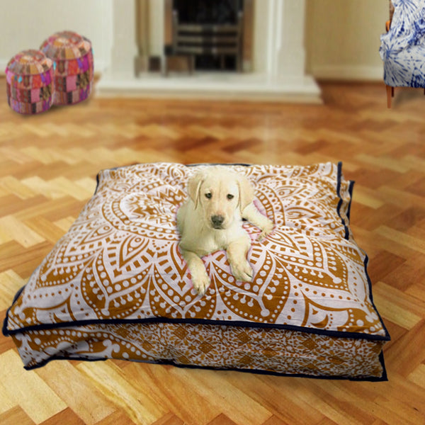 ROYAL GOLD AND WHITE MANDALA DOG BED