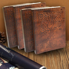 ANTIQUE HANDMADE EMBOSSED TREE OF LIFE LEATHER JOURNAL - DARK WALNUT BROWN - KraftDirect