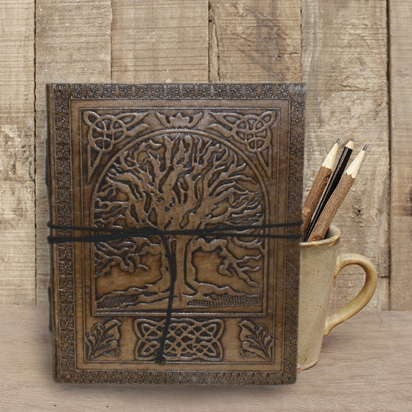 Antique Handmade embossed Tree of Life Leather Journal - KraftDirect