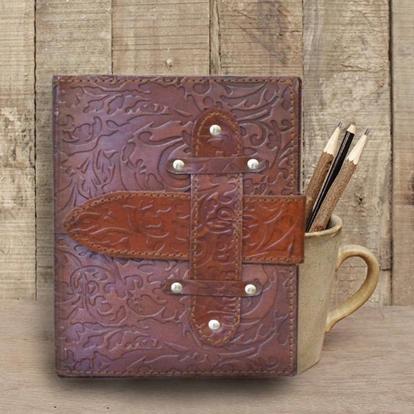 Embossed Walnut Brown Leather Journal With Strap - KraftDirect