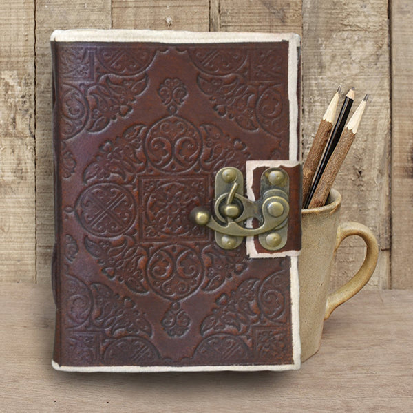 Antique Dark Brown Handmade Embossed leather journal with lock - KraftDirect