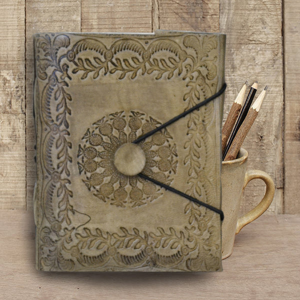 rustic leather journal with medallion and leaf embossing - KraftDirect