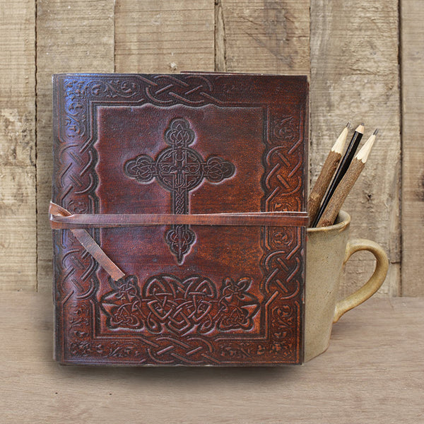 Antique dark brown leather journal with embossed Cross - KraftDirect