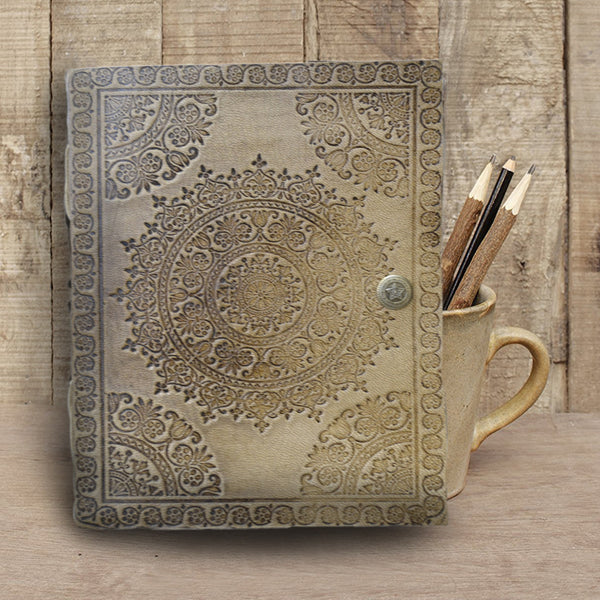 RUSTIC LEATHER JOURNAL WITH LEAF and MANDALA Embossing - KraftDirect