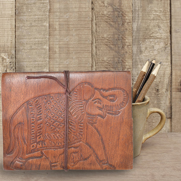 Antique ELEPHANT Embossed leather journal - KraftDirect