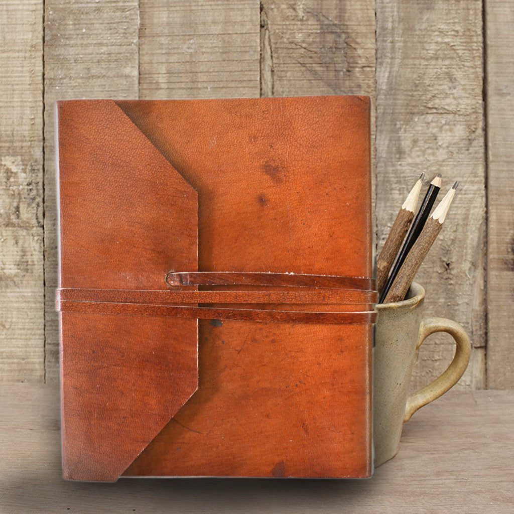Walnut brown Handmade leather journal - KraftDirect