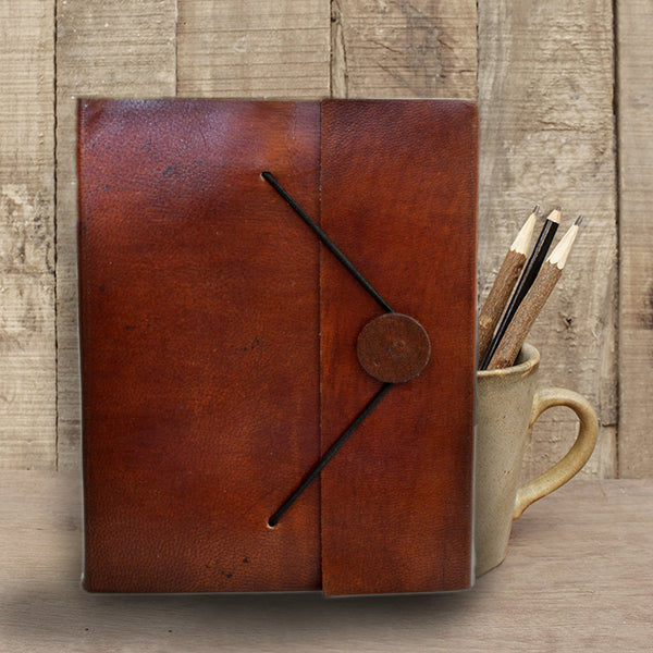 Walnut brown Handmade leather journal with Closing Flap - KraftDirect