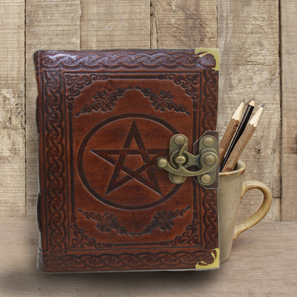Antique Dark Brown Pentacle Embossed leather journal with lock - KraftDirect