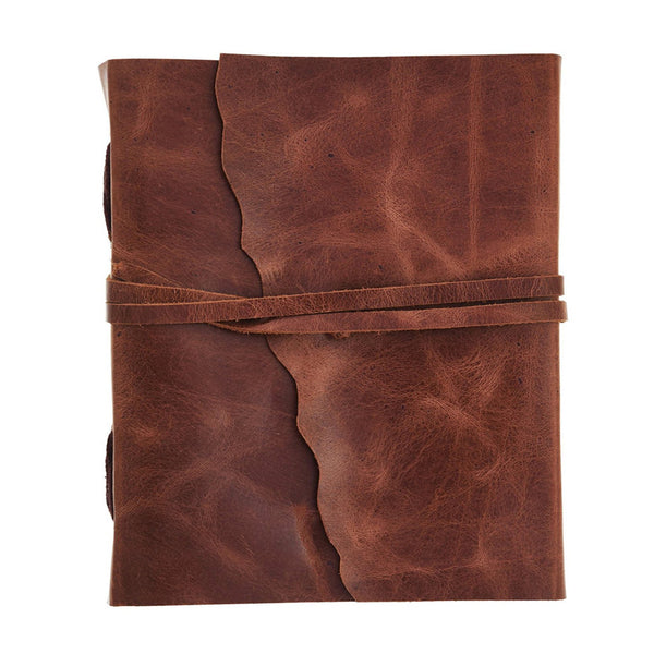 Antique Handmade Embossed leather journal with strap closing mechanism - KraftDirect