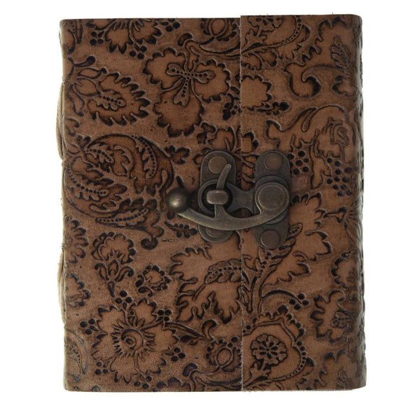 FLOWER EMBOSSED LEATHER JOURNAL DIARY with locking mechanism - KraftDirect