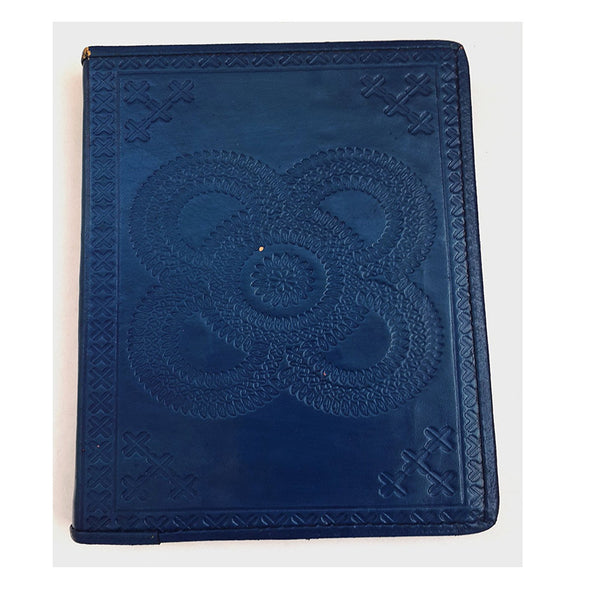 NAVY BLUE Hand embossed leather journal - KraftDirect