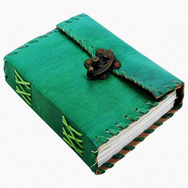 Green Handmade leather journal with lock - KraftDirect