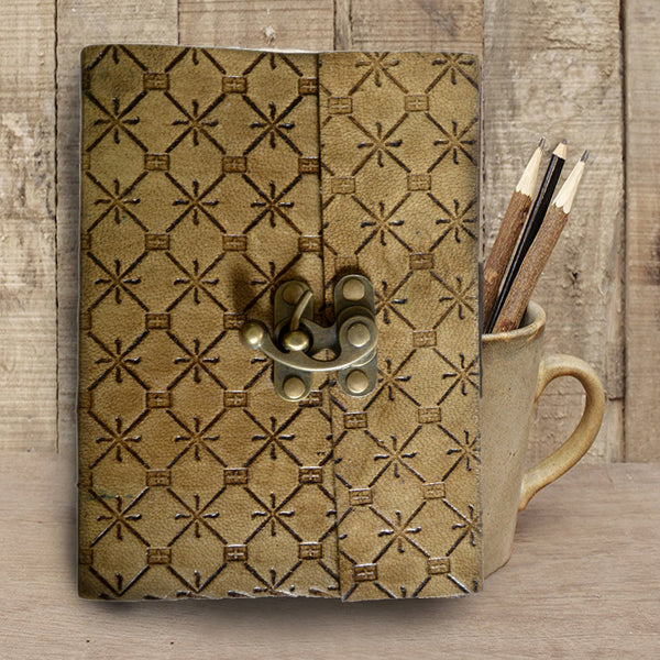 RUSTED Brown Handmade Embossed leather journal - KraftDirect
