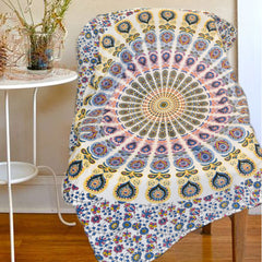 Boho Quilted Cotton Throws for Sofa - Mandala Yellow - KraftDirect