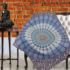 Boho Quilted Cotton Throws for Sofa - Blue Mandala - KraftDirect