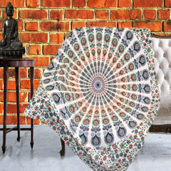 Boho Quilted Cotton Throws for Sofa - Multi Color Mandala - KraftDirect
