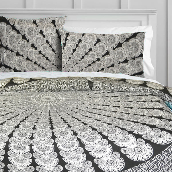 GREY PEACOCK MANDALA Duvet Doona Cover Set - KraftDirect