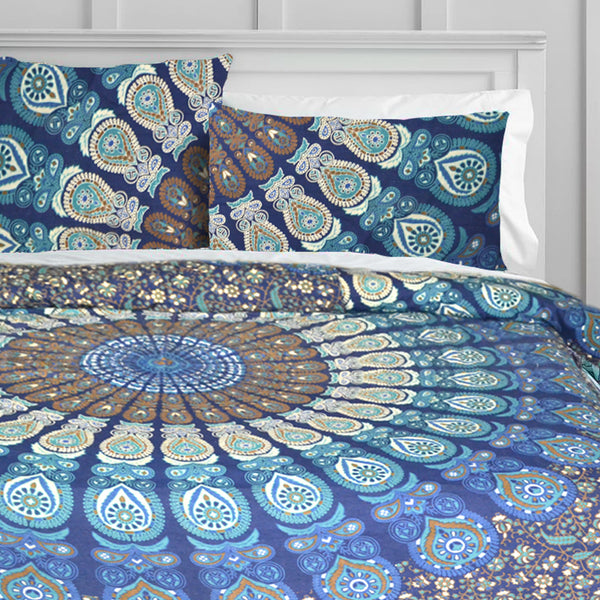 OCEAN BLUE MANDALA Duvet Doona Cover Set - KraftDirect