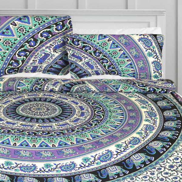 Elephant Safari Mandala Duvet Doona Cover Set - KraftDirect