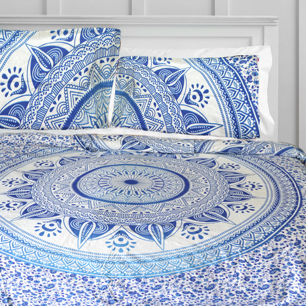 SKY BLUE CHAKRA MANDALA DUVET DOONA COVER SET - KraftDirect