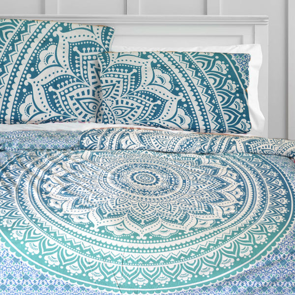 TEAL OMBRE MANDALA DUVET DOONA COVER SET - KraftDirect