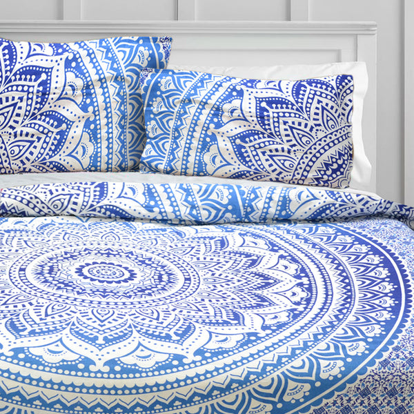 SKY BLUE HIPPIE MANDALA DUVET DOONA COVER SET - KraftDirect