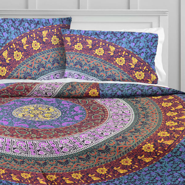 MULTICOLOUR FLORAL MANDALA Duvet Doona Cover Set - KraftDirect